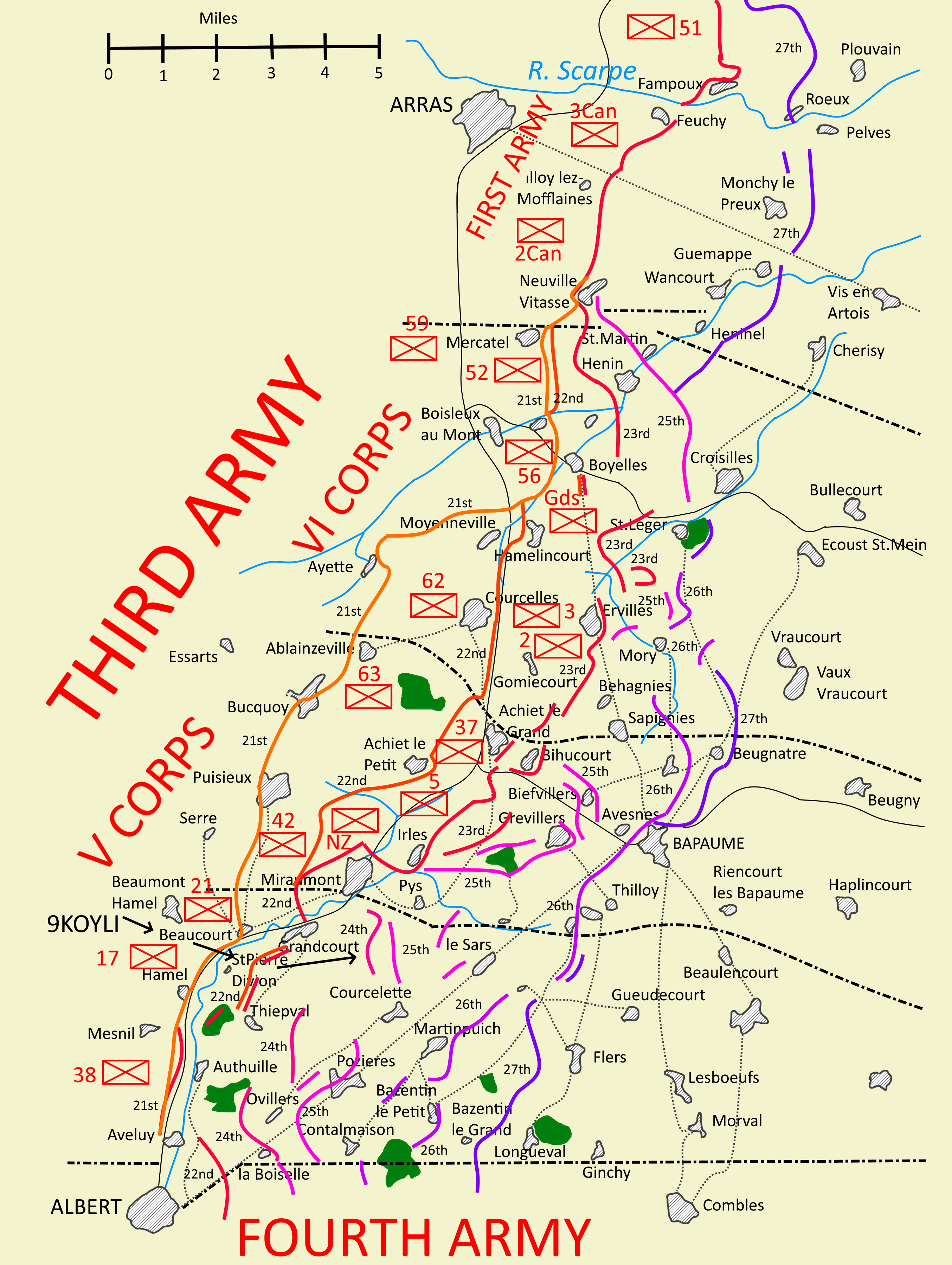 Map of operations August 1918 in Third Army Area