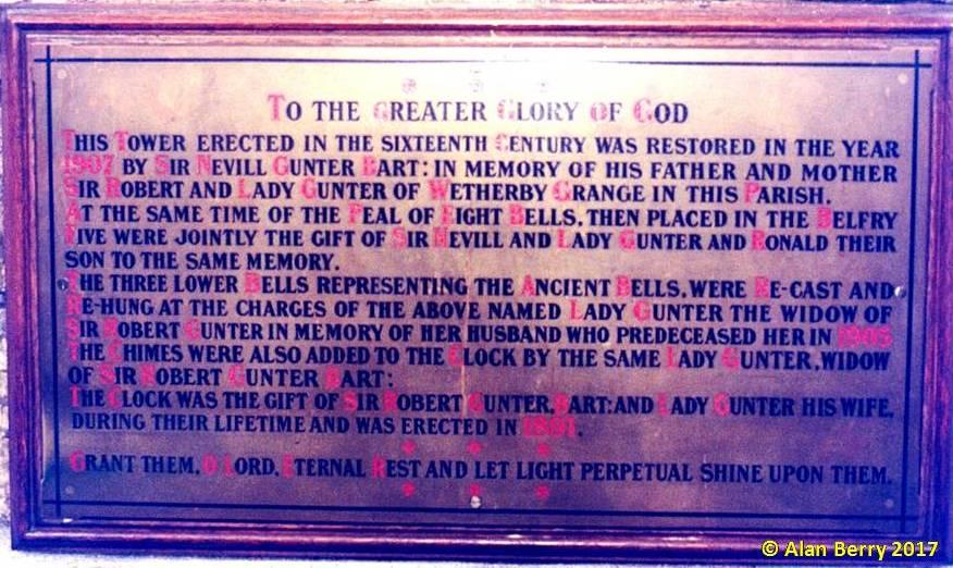Photo of church dedication to Gunter